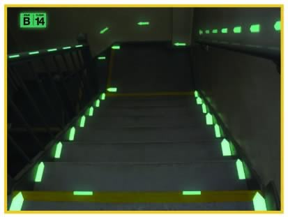 mea certification - stairway with pathway markings